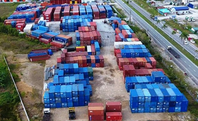 The aerial view of Labuan Liberty Port inland depot at Jalan Rancha-Rancha here, opened to ease the port congestion.